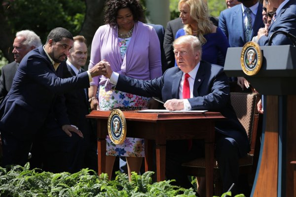 President Trump Attends National Day Of Prayer Event In The Rose Garden