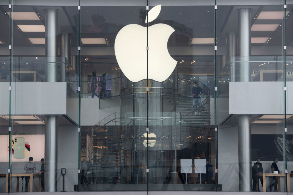 American multinational technology company Apple logo seen in...