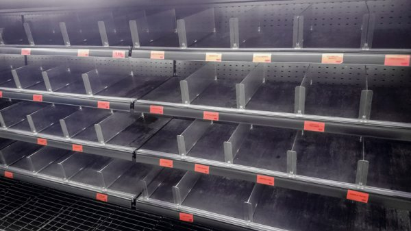 Empty meat department in a supermarket