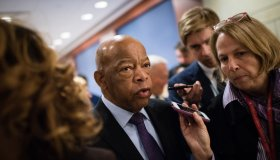 Rep. John Lewis (Ga.), the civil rights icon, was chosen to deliver the final seconding speech for Pelosi. He is pictured leaving a closed door meeting at Capitol Visitor Center Auditorium Wednesday morning to nominate a speaker and choose other members of