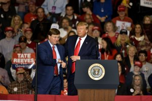 President Trump Holds Rally In Tupelo, Mississippi