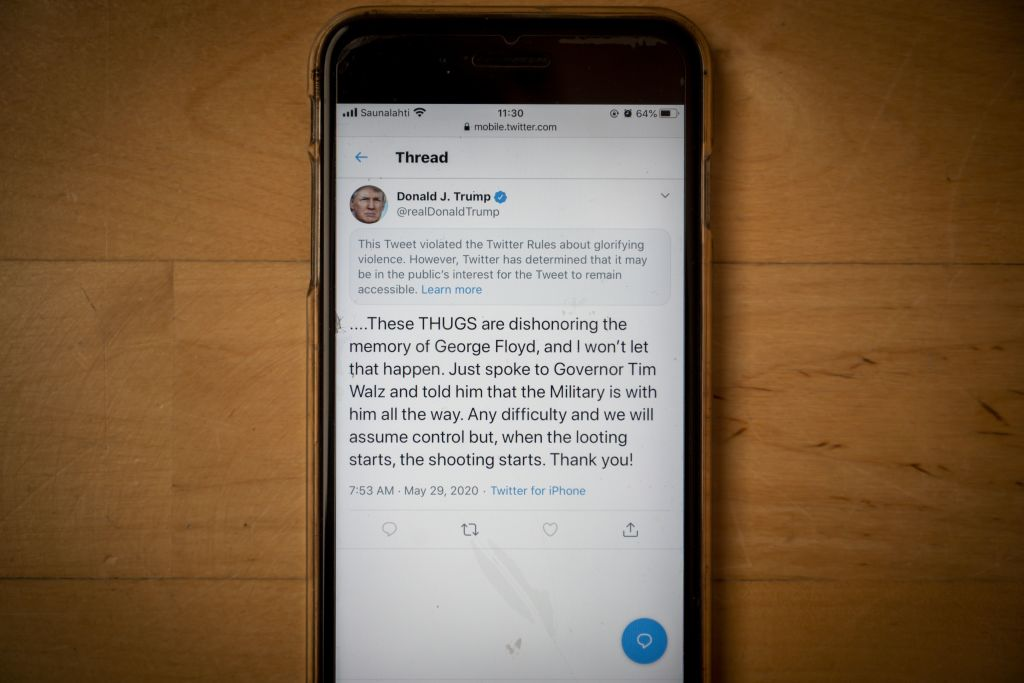 Twitter Censors Donald Trump's Tweet Calling George Floyd Protesters Thugs