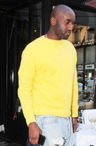 Virgil Abloh leaving the Avenue restaurant in Paris