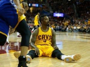 Cleveland Cavaliers' J.R. Smith (5) reacts to a play during their game against the Golden State Warriors in the fourth quarter of Game 4 of the NBA Finals at Quicken Loans Arena in Cleveland, Ohio, on Thursday, June 11, 2015. (Nhat V. Meyer/Bay Area News