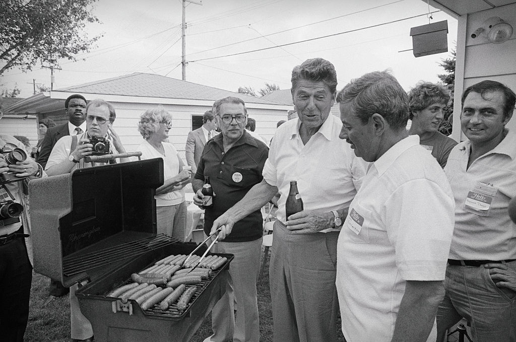Ronald Reagan Cooking on Barbecue