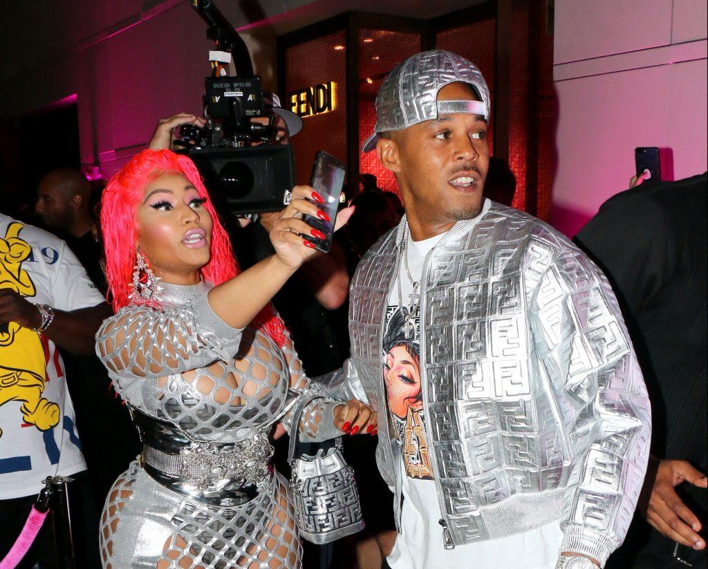 Nicki Minaj and Kenneth Petty arrive at Fendi Prints On at Fendi in Beverly Hills