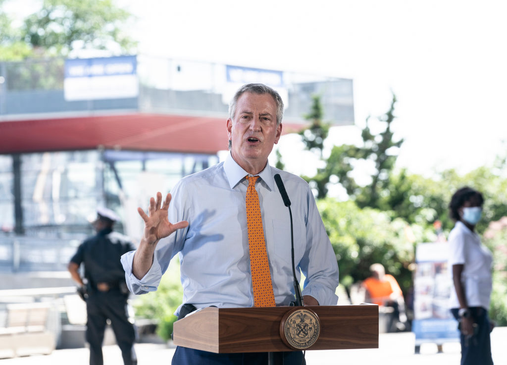 Mayor Bill de Blasio speaks at press conference at the South...