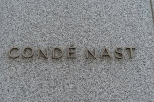 View of logo of Conde Nast company on the wall of Freedom...