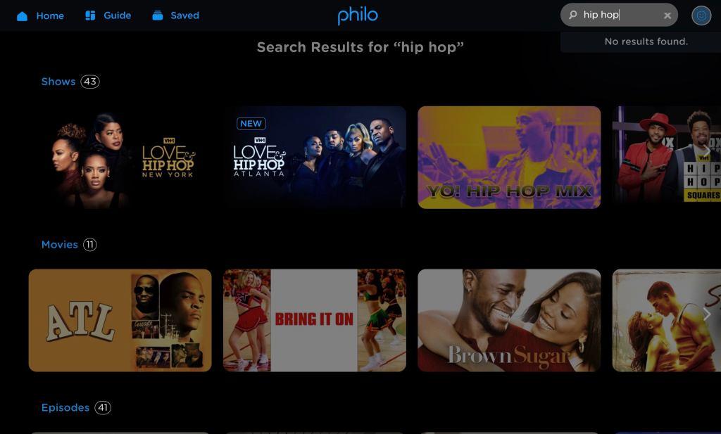 Philo screen shot