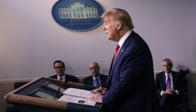 President Trump Holds A Press Briefing At The White House