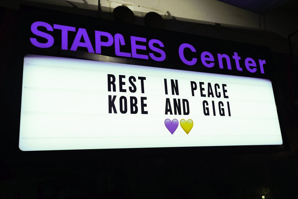 The tribute to Kobe Bryant before the LA Lakers v Portland Trail Blazers game at the Staples Center