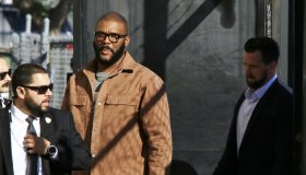 Casually dressed Tyler Perry arrives for an appearance on Jimmy Kimmel Live!