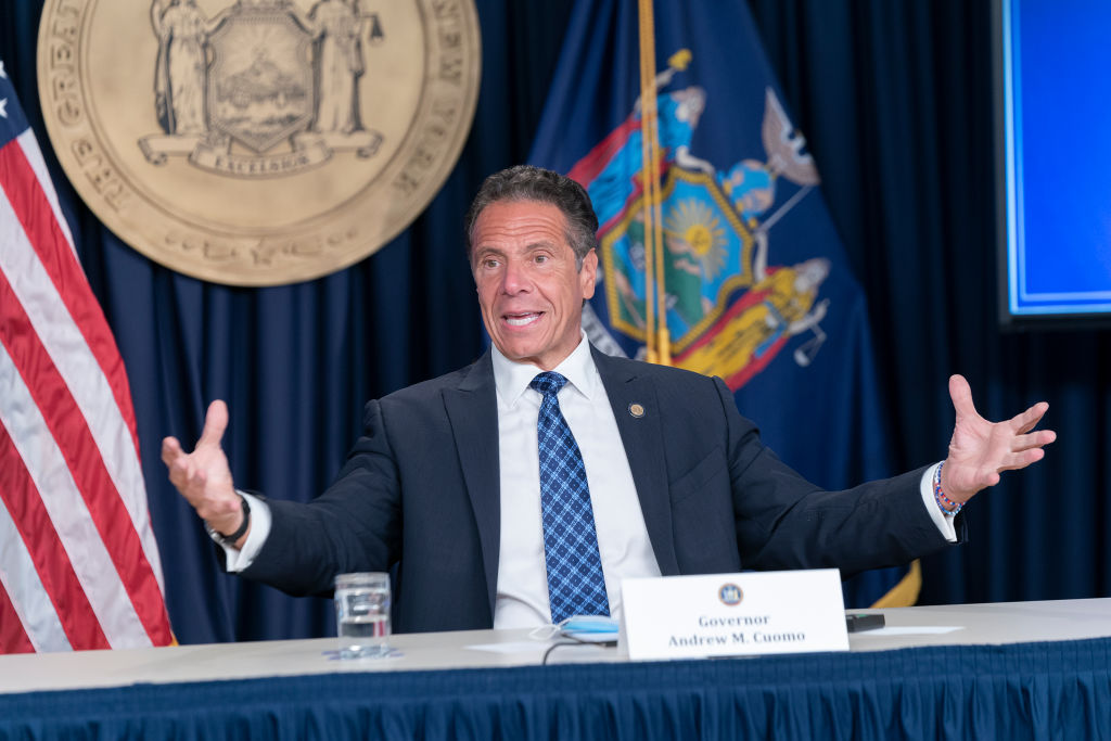 NYS Governor Andrew Cuomo conducts press briefing and makes...