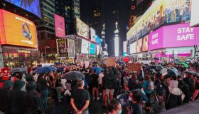 Protest in Times Square heated up with Trump supporters