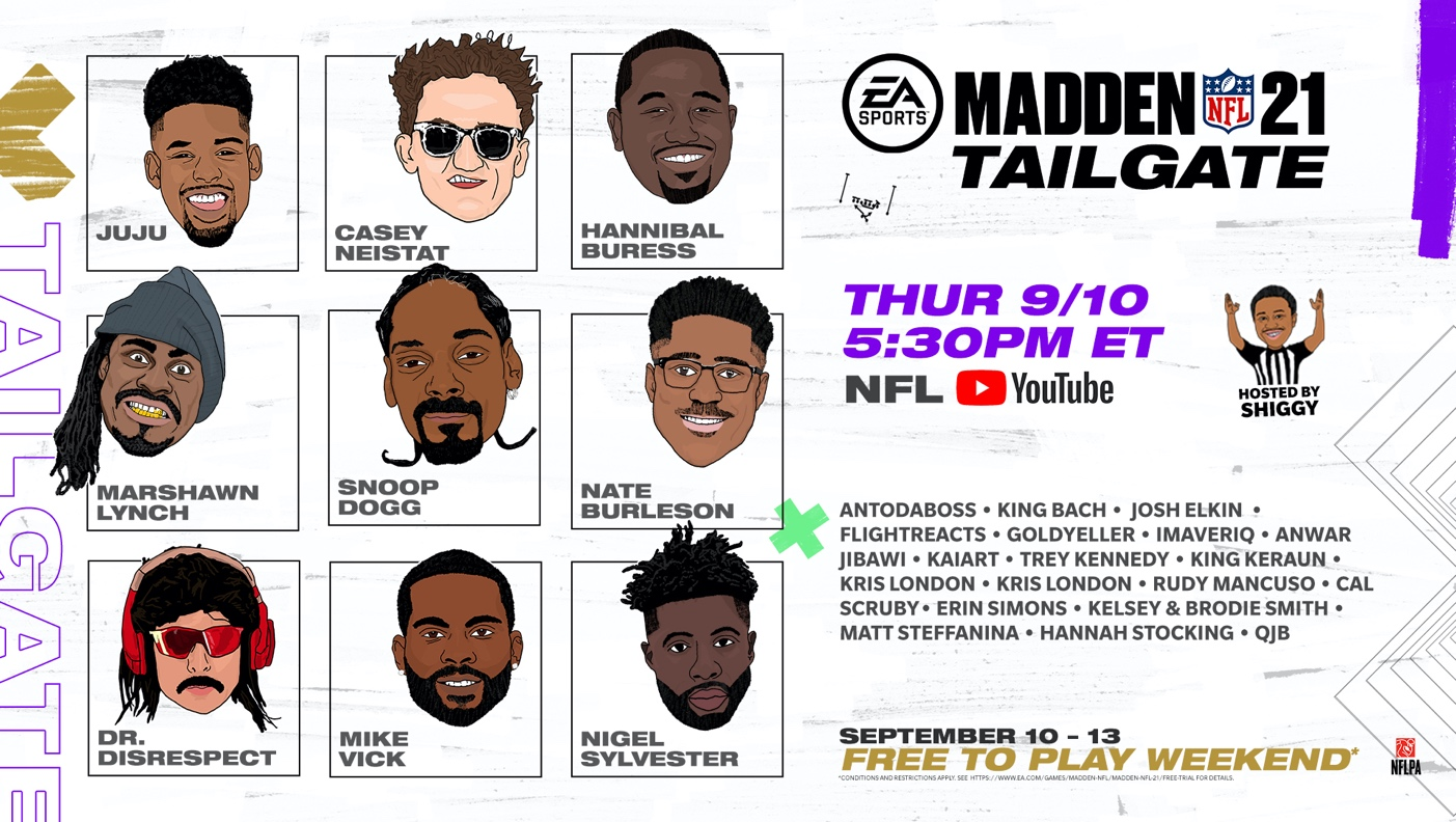 EA SPORTS CELEBRATES NFL KICKOFF WITH MADDEN NFL 21 FREE TO PLAY TRIAL AND CELEBRITY TAILGATE