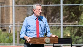 Mayor Bill de Blasio speaks at press briefing at Bronx...