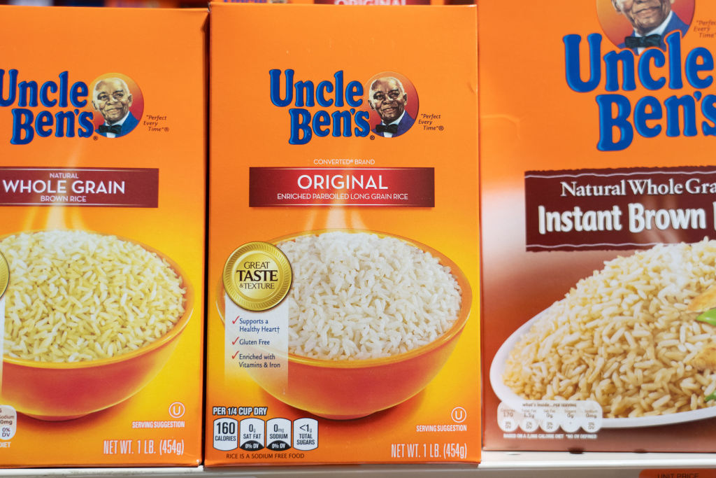 Uncle Ben's products seen displayed on supermarket shelves.
