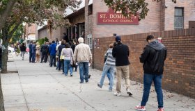 People waiting in line to vote for early Presidential voting...