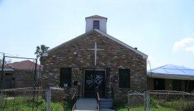 Facade of an abandoned chapel in Louisiana