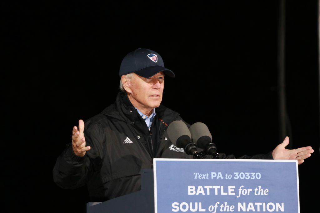 Joe Biden at the election campaign drive thru rally at the Jewish Society Museum, Philadelphia, Pennsylvania
