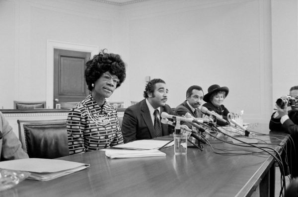Democratic US Congresswoman Shirley Chisholm Announcing her Candidacy for US Presidential Nomination with Representatives Parren Mitchell, Charles Rangel