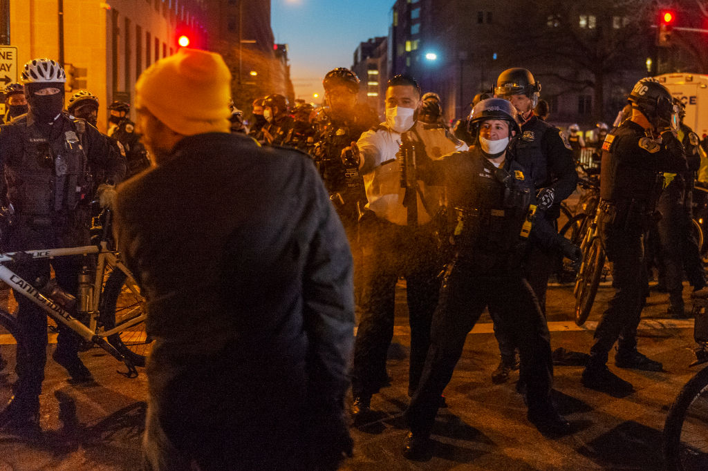 WASHINGTON, DC - DECEMBER 12: A member of the Proud Boys is pep