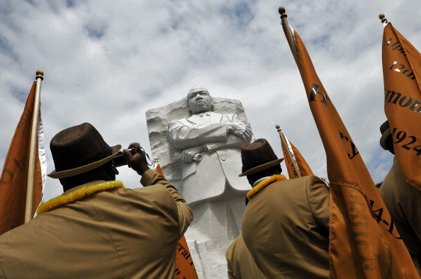 Members of the Alpha Phi Alpha fraternity gather for a private ceremony to inaugurate the MLK memorial in Washington, DC.