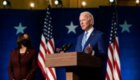 Democratic Presidential Nominee Joe Biden Speaks To The Press Day After Election Day, As Results Still Await