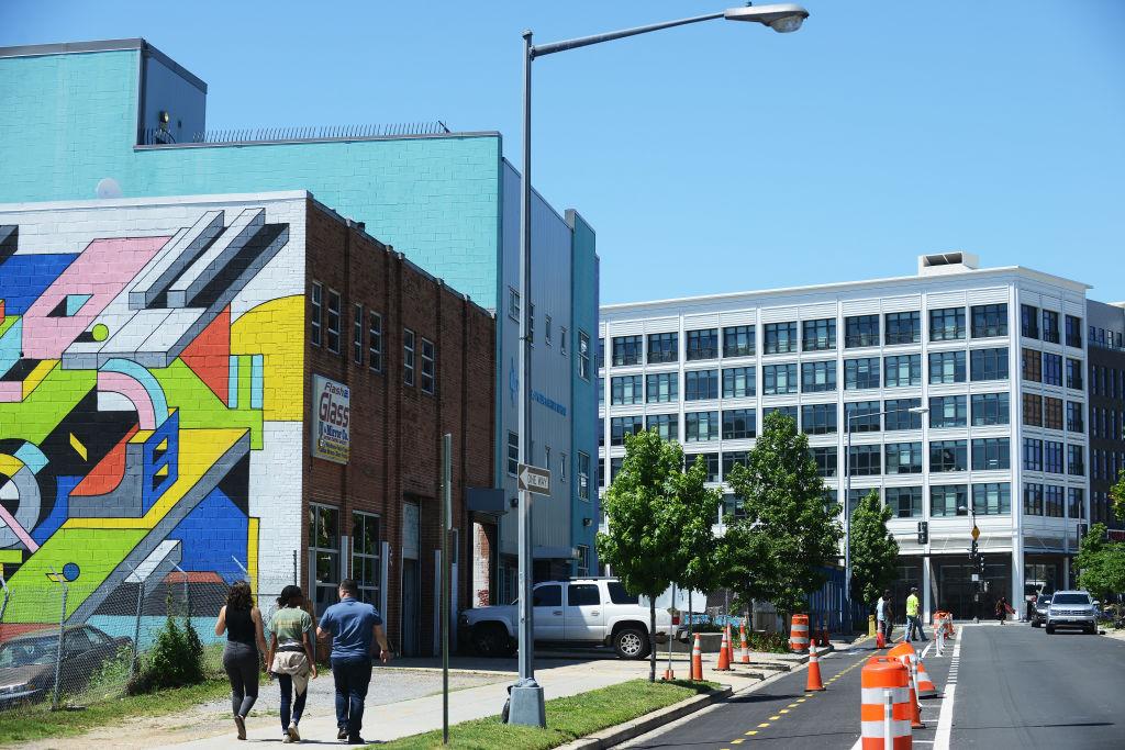 WASHINGTON, DC - JUNE 14: Recently built apartment buildings an