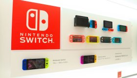 Nintendo Switch video game console on display inside...