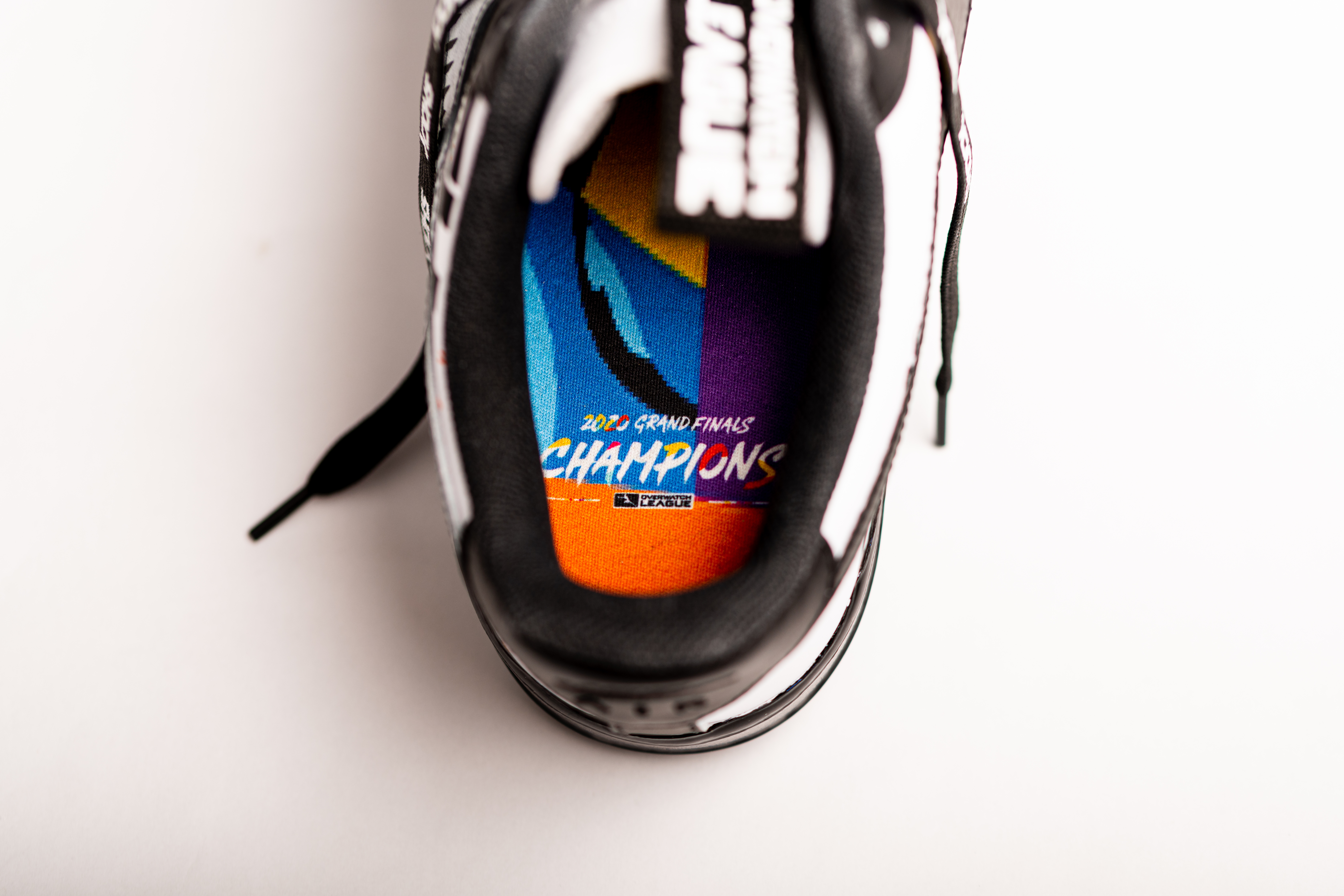 "Overwatch League champion shoe ""trophies,"" designed by Alexander-John"