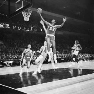 Elgin Baylor Leaps @ Hoop W/Basketball