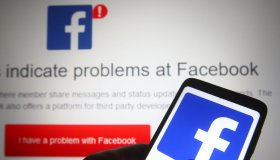 In this photo illustration, Facebook logo seen on a...