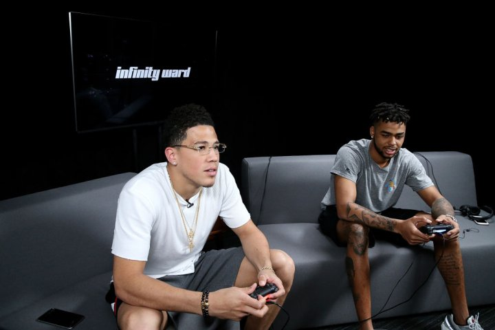 """Pro Basketball Players D'Angelo Russell And Devin Booker Play """"Call Of Duty: Infinite Warfare Continuum DLC"""" At Infinity Ward"""