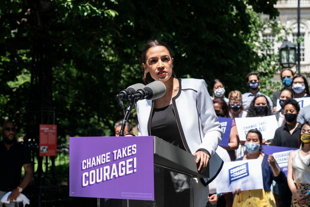 U. S. Representative Alexandria Ocasio-Cortez speaks at the...