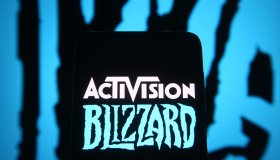 In this photo illustration, Activision Blizzard logo of a...