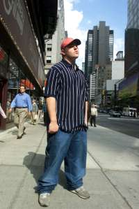 Rapper Bubba Sparxxx is photographed at Times Square on 10/16/2001.