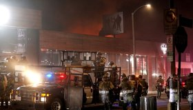 Several businesses on Melrose Avenue, a trendy row of design and clothing stores, were looted.