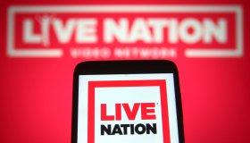 In this photo illustration a Live Nation Entertainment logo...
