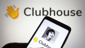In this photo illustration the Clubhouse logo is seen on a...