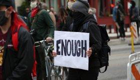 Protestors against police shootings outside the new Police headquarters in Philadelphia, Pennsylvania