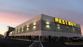 Over 350 people waited in line at the Best Buy in Wyomissing, some starting as early as 4:30am, to get Black Friday deals on Thanksgiving when the store opened at 5pm. Photo by Jeremy Drey 11/23/2017